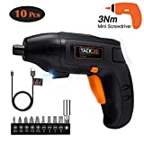 TACKLIFE Classic Electric Screwdriver, 4V Max Cordless Screwdriver Rechargeable with Micro USB, Front LED Light, 10 pcs Screwdriver Bits, 3 Battery Indicator, Compact and Lightweight Design-SDP60DC