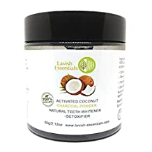 Lavish Essentials - Natural Activated Food Grade Teeth Whitening Charcoal - With Organic Coconut Activated Charcoal + Bentonite - 60g Coconut Tooth and Gum Powder for Whiter, Stronger, Healthier Teeth. More Effective Than Tooth Whitener Strips, Kits and Toothpaste. LARGE SIZE.