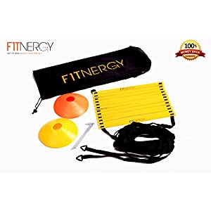 F1TNERGY Speed and Agility Ladder Training Equipment by Yellow 12 Rung Ladder Free Carrying Bag + 10 Speed Cones (5 Orange + 5 Yellow) + 4 Pegs & D Rings Soccer Training Football Gear Hockey Mask