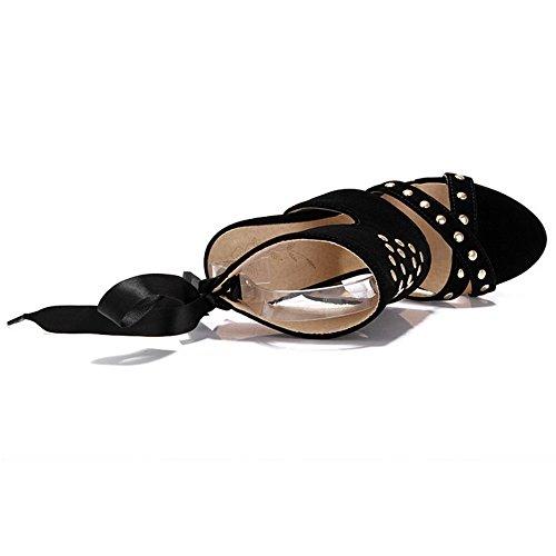 TAOFFEN Plateforme Sandales Hauts Talons Black Femmes qwxqz6US8