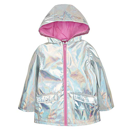(Baby Girls Holographic Silver Jacket Showerproof Rain Coat Mac 9-12 Months to 5-6 Years (3-4 Years))