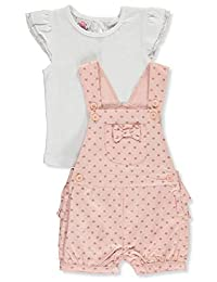 Real Love Girls' Glitter Hearts and Bows 2-Piece Shortalls Set