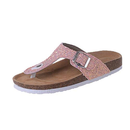 Flip Flop Women – Focus Glitter Flip Flops Women Sandals Casual Beach 5 Color Size 4.5-10 Pink