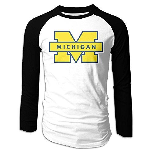 ARTBee Michigan Wolverines Logo Men's Long Sleeve Raglan T Shirts Black S