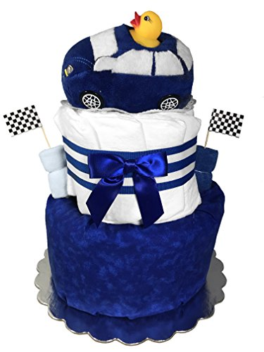 Racecar Diaper Cake for a Boy - Baby Shower Centerpiece Gift Set