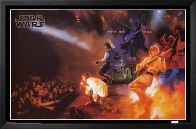 Professionally Framed Star Wars Rock Band Concert Movie Poster Print - 22x34 with Solid Black Wood Frame