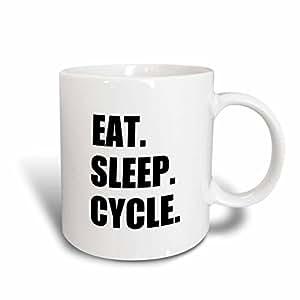 3dRose mug_180393_2 Eat Sleep Cycle-Passionate About Cycling-Bicycle Enthusiast Gifts, Ceramic Mug, 15-Ounce