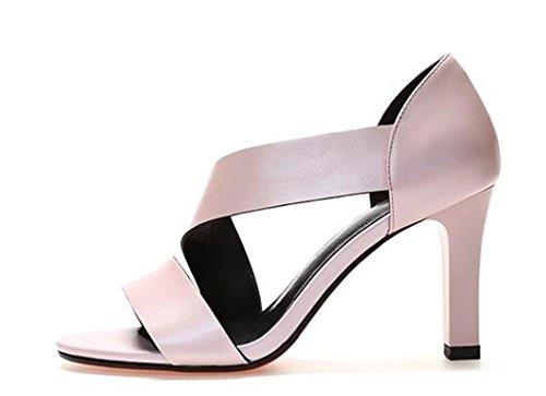 YEEY Las mujeres de verano sandalias de tacón alto de tobillo abierto de tacón de cuero genuino tacones Club de compras Pink