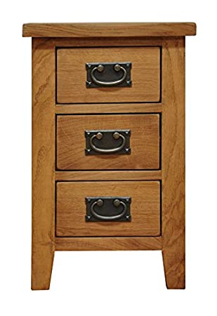 Buxton Oak Small 3 Drawer Bedside Table Narrow Wooden Side