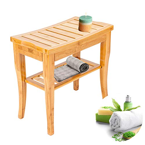Wegi King Bamboo Bath Stool, Shower Bench Shower Chair Bath Aid Foot Stool with Two Tiers Thickened Waterproof Bathing Sear ()