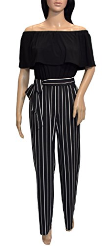 bebe Women's Off The Shoulder Pin Stripe Jumpsuit, Black, - Bebe Romper