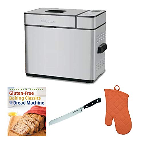 Cuisinart CBK-100SSFR 2-Pound Programmable Breadmaker Includes Bread Knife, Oven Mitt and Cookbook (Renewed)