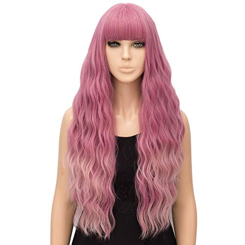 netgo Pink Ombre Wig for Women Long Wavy Heat Resistant Fiber Wigs Side Bangs Cosplay -