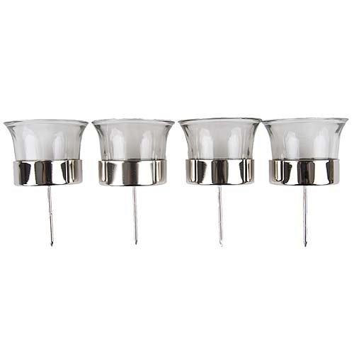 Amazon.de: 4er Set Teelichtgläser mit Dorn in Silber für ...