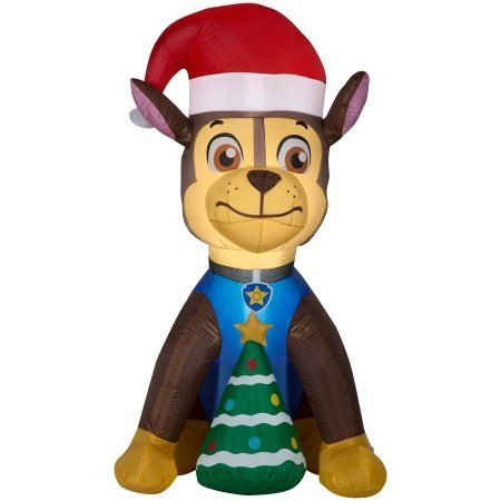 Gemmy Airblown Inflatable Paw Patrol Chase w/Christmas Tree 4.5 ft Tall Indoor/Outdoor Decoration (1) by Gemmy