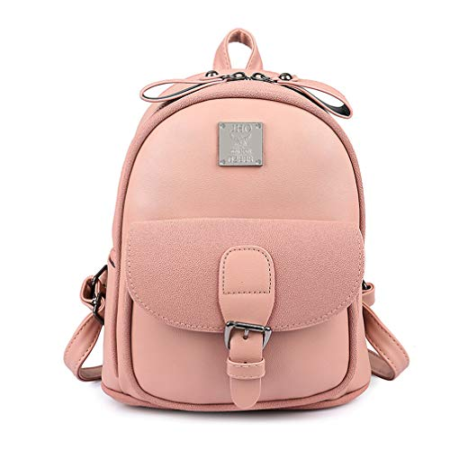 for School Pu Leather Pink Teenage Bags Backpacks 22x14x25cm Brown 7SFwnqq