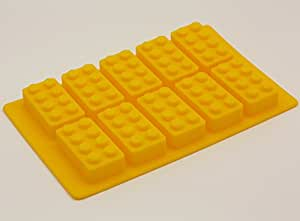 Building Brick Silicone Ice Tray Candy Mold set for Lego lovers (Yellow)