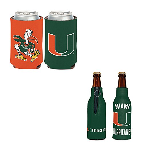 WinCraft Bundle - 2 Items: University of Miami Bottle Cooler and Can Cooler ()