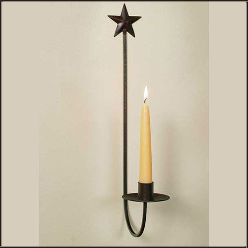 Star Wall Sconce with Crackle Black/Red Finish