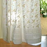 Saffron Marigold – Ivy Lace – White on White Country Cottage Floral Hand Printed – Sheer Cotton Voile Curtain Panel – Tab Top or Rod Pocket – (46″ x 63″) Review