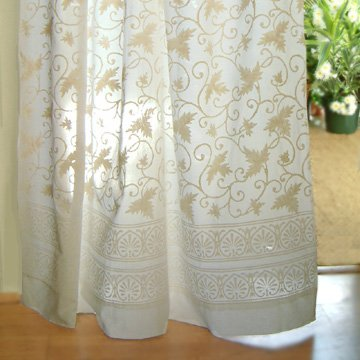 Saffron Marigold – Ivy Lace – White on White Country Cottage Floral Hand Printed – Sheer Cotton Voile Curtain Panel – Tab Top or Rod Pocket – (46