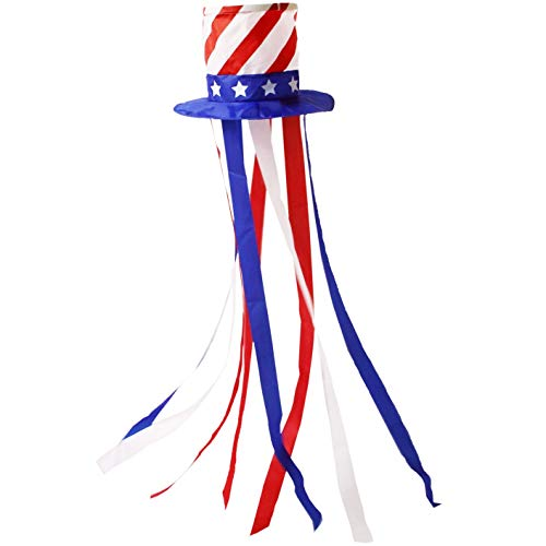OUTOUR Hat Windsock Wind Sock 49 Inch Uncle Sam Fourth of July American USA Independence Day Decoration 4th of July Patriotic Party for Garden Patio Lawn Backyard