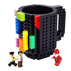 Triumphic Build-on Brick Mugs,with 3 packs of Blocks,Latest Version,Creative DIY Building Blocks Cups for Coffee Water Juice,Compatible with Lego,Unique Puzzle Mug,Novelty Gifts for Adults,Black