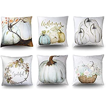 MENOLY 6 PCS Pumpkin Throw Pillow Cover Pillow Cases Cushion Couch Covers 18 x 18 Inch for Halloween Autumn Fall Thanksgiving Day