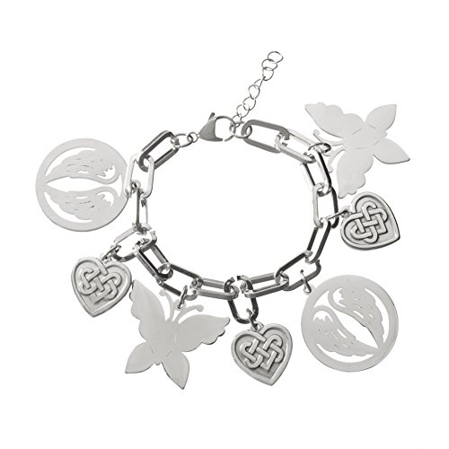 Nickel Free Costume Jewellery Uk (Stainless Steel Dangling Butterfly/Celtic Heart & Angel Wings Charms Oval Link Bracelet)