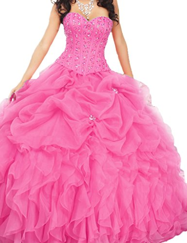 ASBridal Sweetheart Ruched Beading Bodice Ball Gown Quinceanera Prom Dresses Pink US - Fresno Dress Shops In