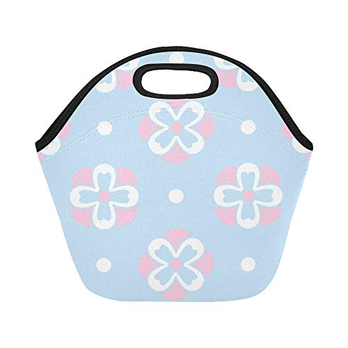 (Insulated Neoprene Lunch Bag Pink And Blue Floral Polka Dot Large Size Reusable Thermal Thick Lunch Tote Bags For Lunch Boxes For Outdoors,work, Office,)