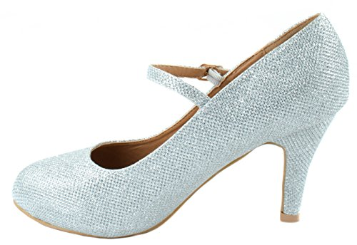 Bella Marie Shoes Womens Helena-13 High Heel Suede Pumps with Buckle Closure Silver Mesh M4QT1R4