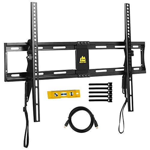 FORGINGMOUNT Low Profile Tilting TV Wall Mount Bracket for Most 32-80 inch LED,LCD,OLED,Plasma Screen TVs up to 130LBS and VESA 600X400-15 Degrees Tilt - Quick-Latching for Easy Install - Mount Low Wall Profile