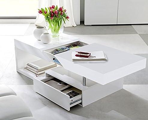 Pleasant Modanuvo Hope Modern White High Gloss Extending Storage Coffee Table With Drawer Inzonedesignstudio Interior Chair Design Inzonedesignstudiocom