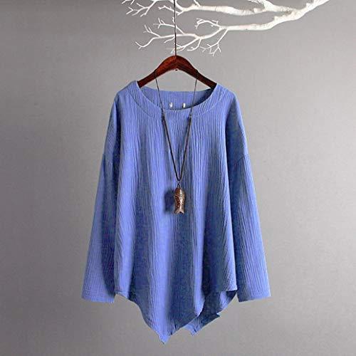 Chemise et Bleu Top L Tee Coton Hiver Automne Xinantime Blouse Femme Lin Casual che Manches Femmes Chemise Vintage nbsp; Longues pqwAtdC