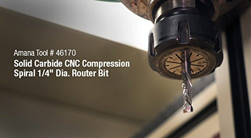 Amana Tool 51352 CNC Carbide Tipped Compression 3 Blade Stagger 3//4 D x 2-1//64 CH x 1//2 SHK x 4-1//4 Inch Long Router Bit