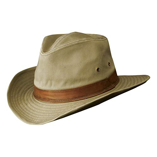 - Dorfman Pacific Men's Twill Outback Hat,Khaki,Large