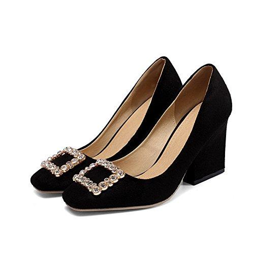 AgooLar Damen Rein Hoher Absatz Quadratisch Zehe Ziehen auf Pumps Schuhe Schwarz