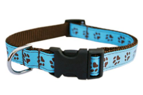 Sassy Dog Wear 10-14-Inch Blue/Brown Puppy Paws Dog Collar, Small from Sassy Dog Wear