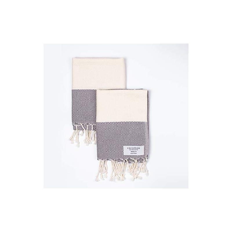 COCOTTON Modern Diamond Turkish Hand Towels Set of 2 | 100% Cotton 18 x 35 Inches | Decorative Bathroom Hair Face Gym…