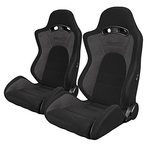 BRAUM - Pair of Black-Grey Fabric Microsuede Mixed S8 V2 Racing Seats with Black Stitches (BRR3-BKGY2) ()