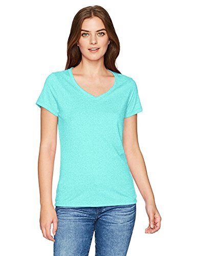 Hanes Women's X-Temp Short Sleeve V-Neck Tee with FreshIQ, Breezy Green Heather, 2X Large ()