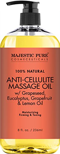 Majestic Pure Anti Cellulite Treatment Massage Oil, Unique Blend of Massage Essential Oils - Improves Skin Firmness, More Effective Than Cellulite Cream, 8 fl oz Body Toning Systems