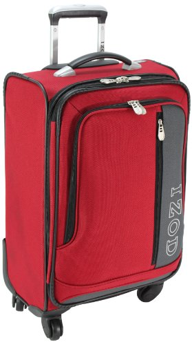 IZOD Luggage Journey 2.0 20 Inch 4 Wheeled Expandable Wheel A Board Bag, Aurora Red, Small, Bags Central