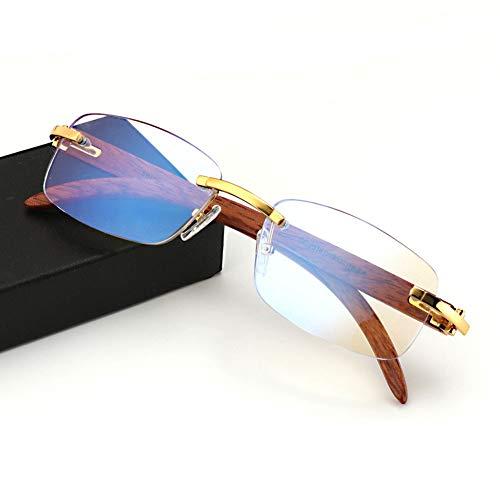 Handmade Wood Temple Rimless Multifocal Progressive Reading Glasses Blue Light Blocking for Men Women Unisex Business Rectangular Luxury Eyewear Frame Designer,Gold,+3.00