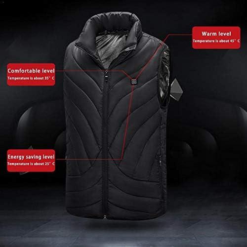 YOGANHJAT Gilet Riscaldato per Uomo Donna USB warmme 3 Temperature scaldamani Regolabile Lavabile Maglia Calda Sicurezza Abbigliamento Invernale Escursionismo,Nero,XXXXL