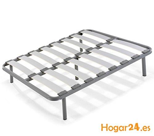 HOGAR24 es-Somier Laminas Madera Haya vaporizadas con Tacos Anti-Ruido, Tubo de Acero 40 x 30, con Juego de 5 Patas roscadas Incluido de Altura 32cm-135