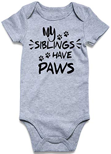UNICOMIDEA Baby Girls Jumpsuit Boys Cute Onesie Letter of My Siblings Have Paws Baby Suit,Dog Paw Pattern Short Sleeve Rompers Costume for Party -