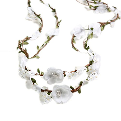 Bueer Flower Wreath Headband Crown Floral Garland Boho for Festival Wedding (White)