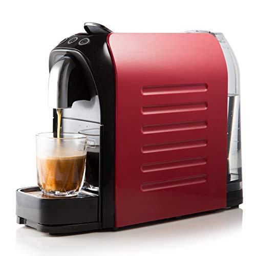 WHITE TIGER Mini cafetera de cápsulas, 1140 W, 19 bares, ahorro de espacio (rojo)